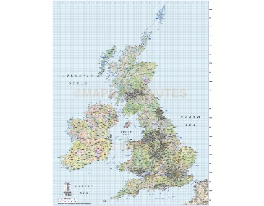 British Isles 1st level Political Road & Rail map @1,000,000 scale