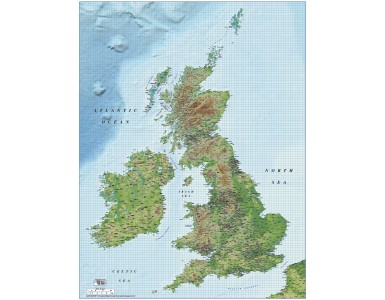 1M scale British Isles Strong colour Relief map