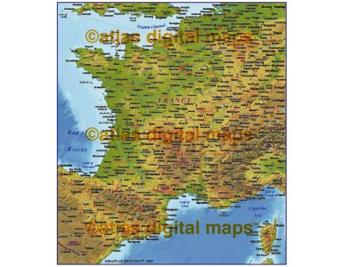 MIM France 4M scale Strong Relief map (Conical projection)