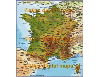 MIM France 4M scale Strong Highlight Relief map (Conical projection)