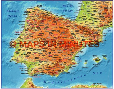 MIM Iberia 4M scale Medium Relief map (Conical projection)