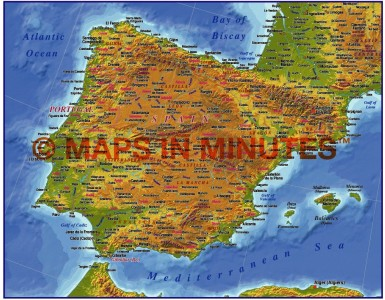 MIM Iberia 4M scale Strong Contour Relief map (Conical projection)