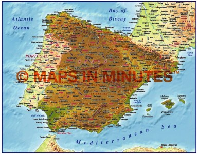 MIM Iberia 4M Spain Highlight Relief map (Conical projection)