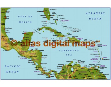Caribbean small scale medium colour Relief map