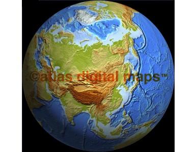 Relief Globe 50N 100E