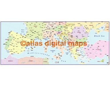 digital vector southern Europe map, basic version in Illustrator and pdf format