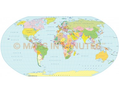 Robinson Projection @100m scale UK centric world map