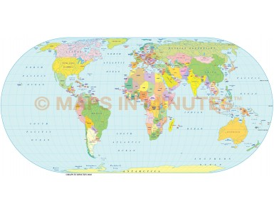Digital vector World Map, Eckert IV projection small scale UK-centric Political