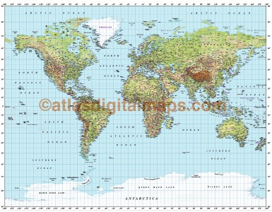 Gall World Political Vector plus Relief Map Light colouring
