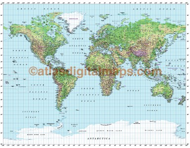 Gall World Political Vector plus Relief Map Regular colouring