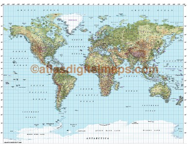 Gall World Political Relief Map in Medium colours