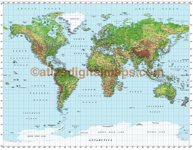Gall World Political Vector plus Relief Map Strong colouring