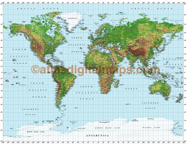 Gall World Political Vector plus Relief Map Extra Strong colouring