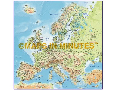 Europe 4M scale Regular Contour Colour Relief Map with Roads