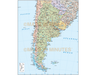Argentina Political Country map including Roads and Railways