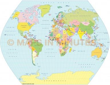 TsNIIGAIK Projection @100m scale UK centric world map