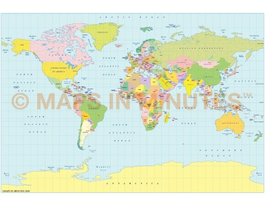Vector World map. B.S.A.M. projection. Small scale Political UK centric