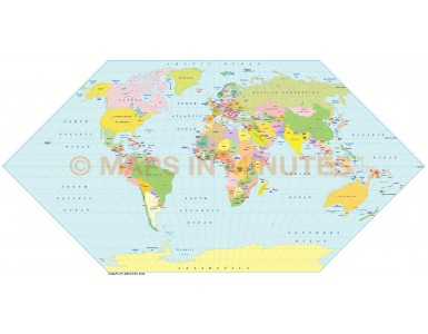 Vector World map. Eckert 1 projection digital map in Illustrator and PDF formats