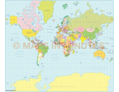 Vector World Map, Mercator Projection @100m scale UK-centric Political