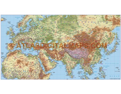 Digital vector europe asia north africa large relief map in illustrator format