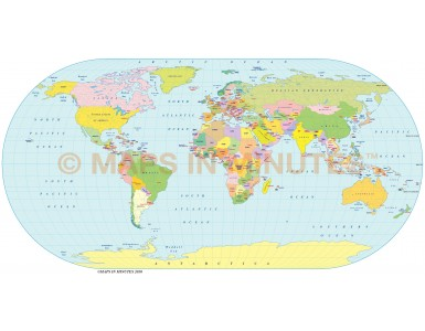 Vector World map. Eckert 3 projection digital map in Illustrator and PDF formats
