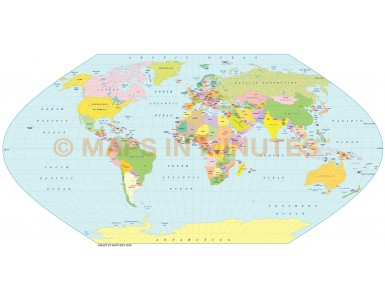 Digital vector World Map, Eckert V projection small scale UK-centric Political
