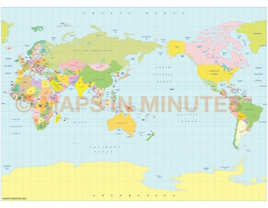 Vector World map. Miller Projection @100m scale Japan centric