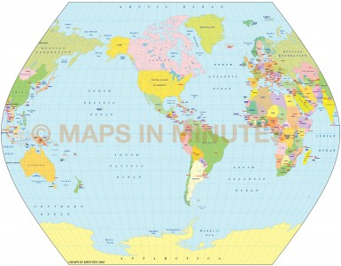 TsNIIGAIK Projection @100m scale US centric world map