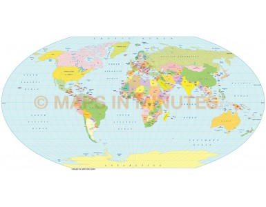 Vector World map. Denoyer projection digital map in Illustrator and pdf format.