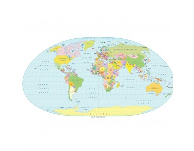 Loximuthal Projection 100m scale UK centric Political World Map