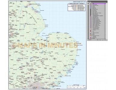 digital vector east england map basic at 1m scale