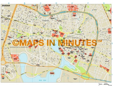 Jeddah city map in Illustrator CS or PDF format
