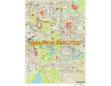 Melbourne city map in Illustrator CS or PDF format