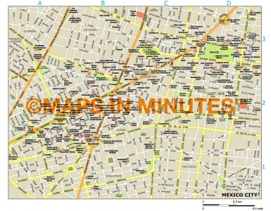 Mexico City map in Illustrator CS or PDF format