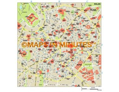 Milan city map in Illustrator CS or PDF format
