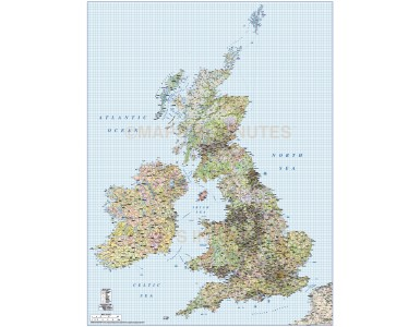 British Isles 1st level Political Road & Rail map @750,000 scale