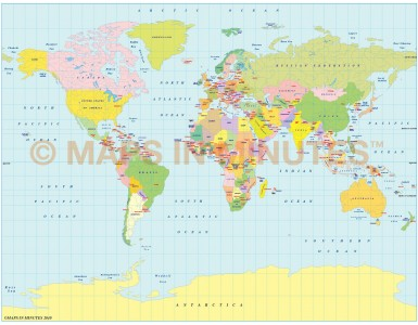 Vector World Map, Gall Projection small scale UK-centric Political