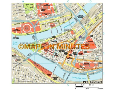 Pittsburgh city map in Illustrator CS or PDF format