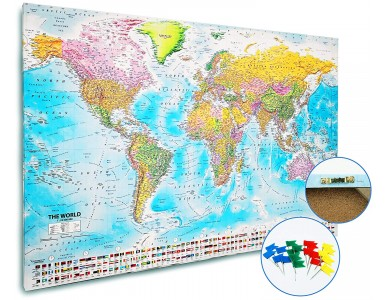 Pinboard Pushpin World Wall Map Canvas - Political and Relief style 120cm wide x 80cm deep. Canvas World Map stretched.