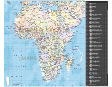 Africa vector map. African Continent country map with high resolution ocean floor contours @10m scale