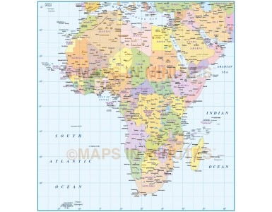 Digital vector map of Africa. Basic Continent Country @10m scale in Illustrator and PDF formats