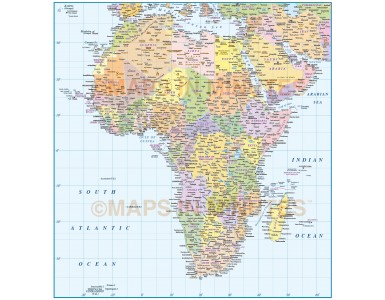 Digital vector map of Africa. Africa Continent map @10,000,000 scale in Illustrator and PDF formats