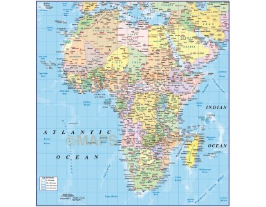 Vector map of Africa. Africa Continent country map with sea contours @10m scale