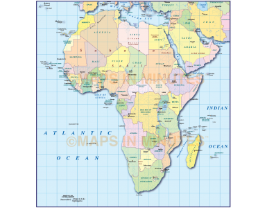Digital vector map of Africa. Simple Continent Country map @10m scale with drop shadow turned on