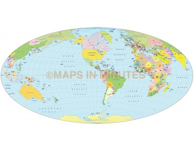 Vector World Map, Aitoff projection @100m scale US centric 2