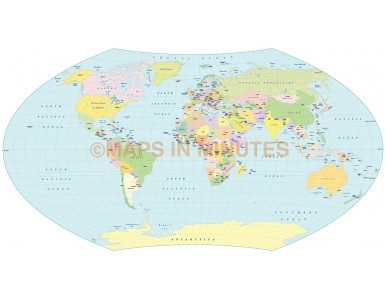 Vector world map, Aitoff Wagner projection 100m scale UK centric