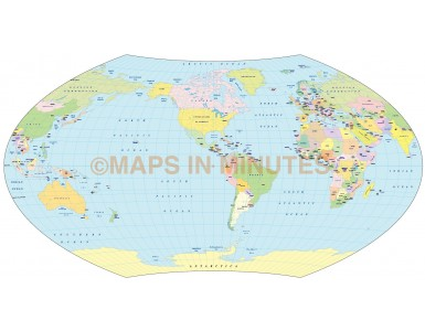 Vector world map, Aitoff Wagner projection 100m scale US centric