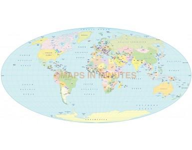 Digital vector World map. Apianus II projection @100m scale UK centric digital file in Illustrator format