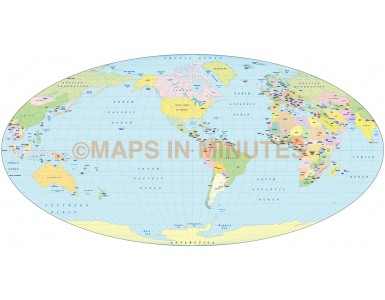 Digital vector World map. Apianus II projection @100m scale US centric digital file in Illustrator format