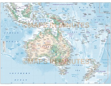 Vector map of Australasia. Continent countries map with high resolution land & ocean floor contours